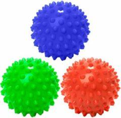 #DoYourFitness - 3 delige set massagebal - »Nica« - Lacrosse Bal / Fasciaball voor effectieve zelfmassage van triggerpoints - diameter 10cm - rood/marineblauw/groen