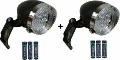 Zwarte Fietslamp - Fietsverlichting - Koplamp - Fietskoplamp - Benson - Inclusief . 3x AAA Batterijen - Bundel van 2 Stuks