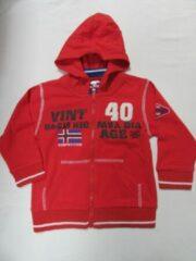 Dirkje , jongen, gilet , met rits en kap , rood , competition , 2 jaar 92