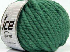 Ice yarns Wol breien met breinaalden maat 10 – 12 mm. – dikke groene breiwol kopen pakket van 3 bollen garen 100 gram per bol 100% wol – breigaren van een fijne kwaliteit