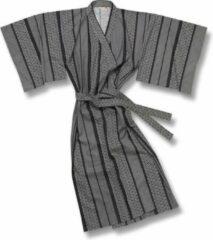 Grijze TA-HWA Traditionele Japanse Kimono Yukata Geo Heren Nachtmode kimono One Size