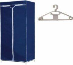 Merkloos / Sans marque Mobiele opvouwbare camping kledingkast met blauwe hoes 160 cm - incl 10x witte kledinghangers