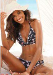 Sunseeker gebloemde triangel bikinitop zwart/roze/wit