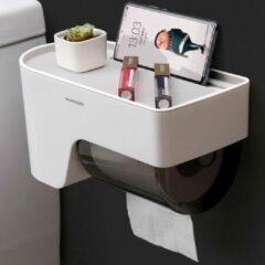 Witte Hangende Toiletrolhouder met Leg plankje & Telefoon sleuf - Voor Wc Rollen wc papier - Montage zonder boren – Toiletrolhouder - Toiletpapier houder – Wc papier houder Hangend – Wc Rolhouder & Toilet papier rol houder - Decopatent®