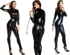 Zwarte Getnutzz Sexy Leatherlook Catsuit Black-Wetlook-Shiny ( Maat XXL )