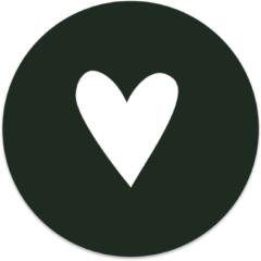 Beige Label2X Muurcirkel klein hart wit/groen - Ø 20 cm - Forex (binnen)
