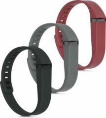 Kwmobile horlogeband voor Fitbit Flex - 3x siliconen bandje in antraciet / zwart / rood - Voor fitnesstracker