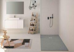 Grijze Zenon Solid Surface Douchebak Smart Slate Cemento 90x120 cm - Doucheplaat Polymeer composiet - Douchevloer Cemento