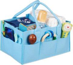 Lichtblauwe Relaxdays luiertas baby - organizer luiers - uitneembare schotjes - verzorgingstas vilt light Blue