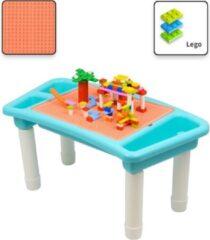 Decopatent® - Kindertafel Bouwtafel - Speeltafel met bouwplaat (geschikt voor LEGO DUPLO) en vlakke kant - 3 Vakken - Met 303 Bouwstenen