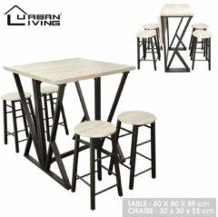 Zwarte Urban Living - Hoge Inklapbare Bartafel met 4 Barstoelen