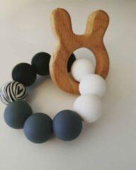 Grijze Hee! Baby handmade Bijtring Zebra, Nijntje, baby, hout speelgoed, baby speelgoed 0 jaar, kraamcadeau