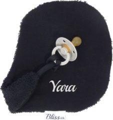 Speendoekje - Speendoekje met naam - gepersonaliseerd kraam cadeau - Wallabiezzz - Zwart