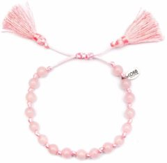 CO88 Collection Serenity 8CB 80043 Armband met Tassel - Agaat Natuursteen 6 mm - One-size - Licht Roze