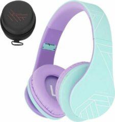 Blauwgroene PowerLocus P2 draadloze Over-Ear Koptelefoon Inklapbaar koptelefoon voor kinderen - veilig volume van 85 dB - Bluetooth Hoofdtelefoon - Met microfoon