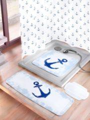 Badewanneneinlage 'Anker' Kleine Wolke weiß/blau