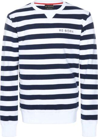 Afbeelding van Marineblauwe Re-Born Streep Ronde Hals Trui Lange Mouw Heren - Navy/Wit - Maat XL