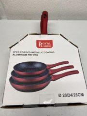 Set van 3 Royal Swiss koekenpannen stenen coating Rood