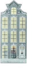 Grijze Invotis waxinelicht houder metaal huisje Amsterdam - Uitvoering - Klokgevel