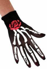 Zwarte Thema party 3x Paar nethandschoenen botten met roos