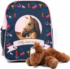 B&B Slagharen Rugtas blond Paard - Peuter Rugzak - 29 x 23 x 14 cm - Roze glitters- Meisjes rugtas - incl Paarden knuffel - pluche Pony 22 cm - donker bruin