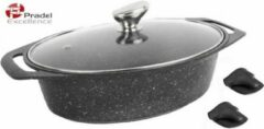 PRADEL EXCELLENCE Set van 3 stenen ovale potten - 3.8 L - Zwart