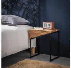 Zwarte Livin24 Industriële nachtkastje Tess acaciahout set van 2