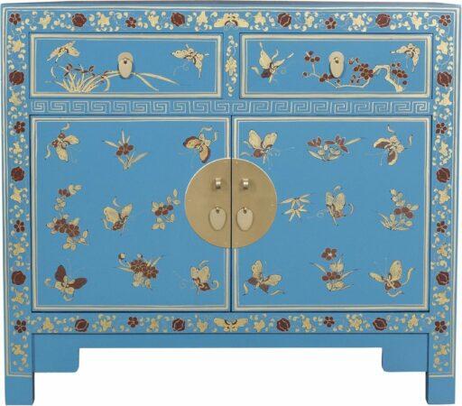 Afbeelding van Blauwe Fine Asianliving Chinese Kast Handgeschilderde Vlinders Sapphire Blue - Orientique Collection L90xB40xH80cm Chinese Meubels Oosterse Kast