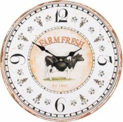 Creme witte Saramax Wandklok FARM RETRO VINTAGE DESIGN