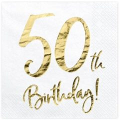 Gouden PartyDeco 50 th birthday servetten