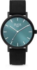 Frank 1967 7FW-0001 Stalen Herenhorloge met lederen band zwart en blauw Ø 42 mm