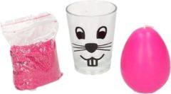 Merkloos / Sans marque Roze zand en paasei kaarsje in glas 11 cm - Paasdecoratie - Paastafel