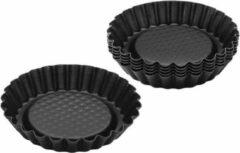 Redhart Zenker mini taart-/ bakvorm - Zwart - Staal - Ø 10 cm - Rond - Set van 4