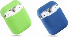 Deckt Bescherm Hoesje Cover SET 2 STUKS voor Apple AirPods Case -Lime groen en donkerblauw