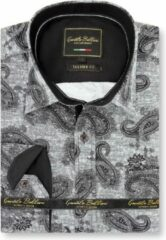 Gentile Bellini Heren Overhemd - Slim Fit - Jacquard Paisley - Zwart - Maat XXL