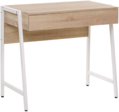 Beliani Bureau lichte hout-look / wit 84 x 48 cm. CARTER