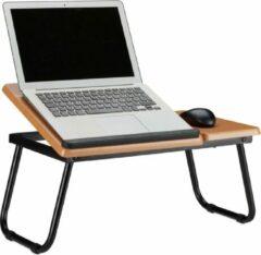 Bruine Relaxdays laptopstandaard hout - hoek instelbaar - laptoptafel - ergonomisch - bank - bed