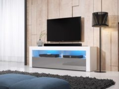 Perfecthomeshop TV Kast Modern Hoogglans Grijs Wit & LED - 140x35x50 cm