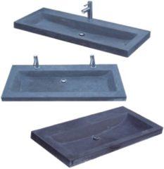 Antraciet-grijze Wasblad Sanilux Compact Stone Hardsteen 100x38x5cm 1 Kraangat