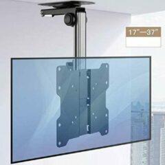 Zwarte Mountastic Opklapbare TV Plafondsteun - Monitor Plafond Ophang Beugel Steun - Inklapbaar Televisie Plafondbeugel Ophangsysteem Ophangbeugel - Draaibaar En Kantelbaar - Ceiling Mount - Televisiebeugel Ophangsysteem Voor Schermen Van 17-37 Inch