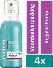 Deoleen Deodorant Spray 75 ml Regular Pomp 4 stuks Voordeelverpakking