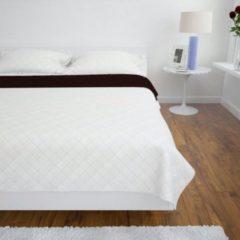 VidaXL Bedsprei gewatteerd dubbelzijdig 220x240 cm beige/bruin