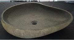Grijze Waskom Imso Lavabo Ovale Riviersteen 40/60x15 cm