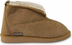 Bruine Texelana sloffen en pantoffels voor dames & heren - pantoffel van schapenvacht - model Frida - maat 42