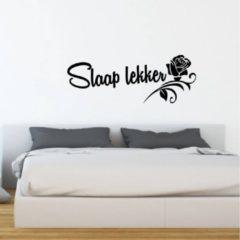 Merkloos / Sans marque Muursticker Slaap Lekker Met Roos - Lichtblauw - 120 x 43 cm - nederlandse teksten slaapkamer - Muursticker4Sale