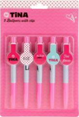 Toitoys Toi-toys Tina Balpen Met Clip 14 Cm Roze/ Blauw 5-deilg