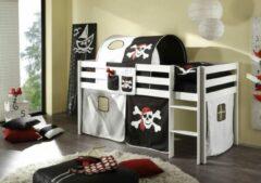 LSD Half-hoogslaper Piraat zwart/wit wit gelakt incl. de voorhangtent onder het bed