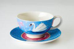 Blauwe Cupkes theekop en schotel Swan, Porselein, 150 ml, balletmotief