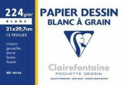 Witte Clairefontaine tekenpapier 'Blanc à Grain', 240 x 320 mm