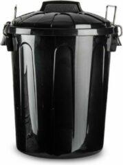 Forte Plastics Kunststof afvalemmers/vuilnisemmers in het zwart van 21 liter met deksel - Vuilnisbakken/prullenbakken - Kantoor/keuken prullenbakken